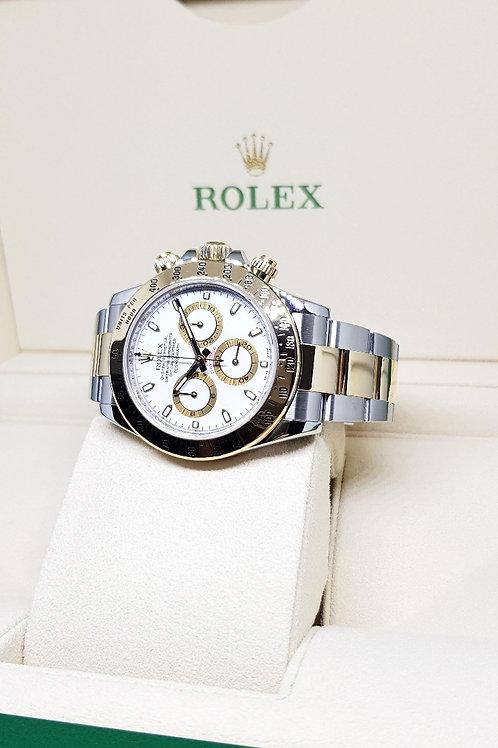 Rolex Oyster Perpetual 18K Half Gold White Index Daytona REF: 116523