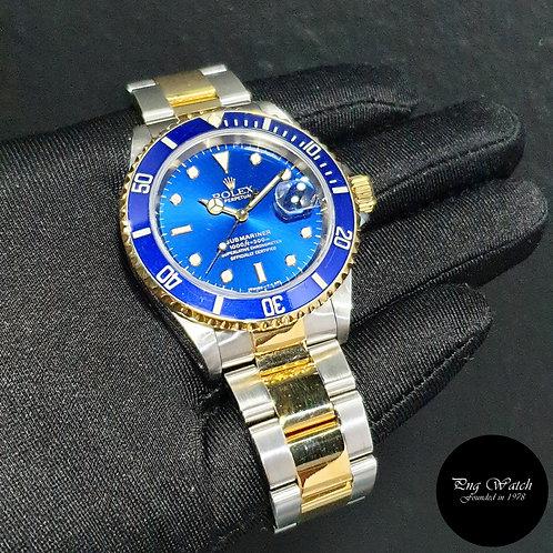 Rolex Oyster Perpetual Tritium 18K Half Gold Blue Submariner Date REF: 16613 (2)