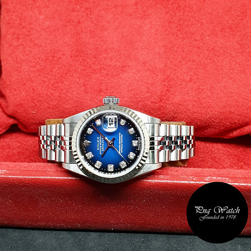 Rolex Oyster Perpetual 2 Tone Blue Ladies Diamonds Datejust REF: 69174