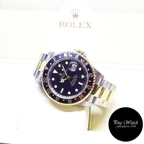 Rolex Oyster 18K Half Gold Black GMT Master 2 REF: 16713 (P Series)