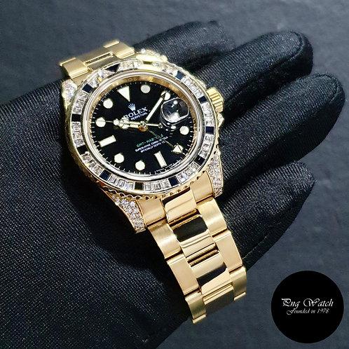 Rolex 18K Yellow Gold Factory Diamonds Black GMT Master 2 REF: 116758SANR (2)