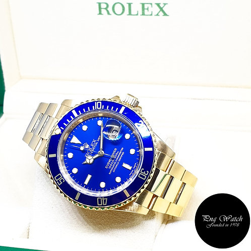 Rolex Oyster Perpetual 18K Full Gold Blue Submariner REF: 16618 (Y Series)