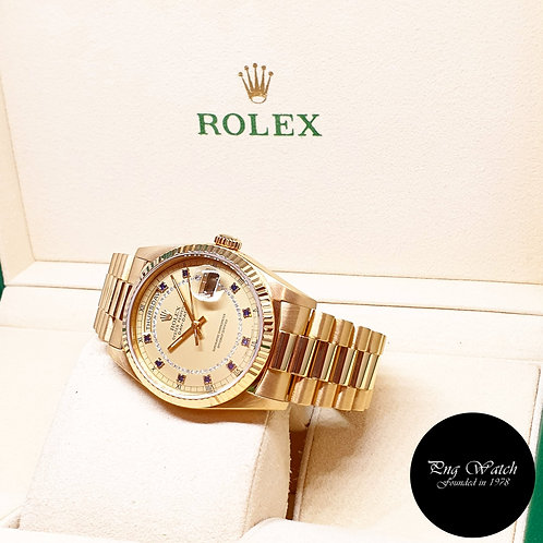 Rolex OP 18K YG Champagne Sapphire and String Diamonds Day-Date REF: 18238 (L)