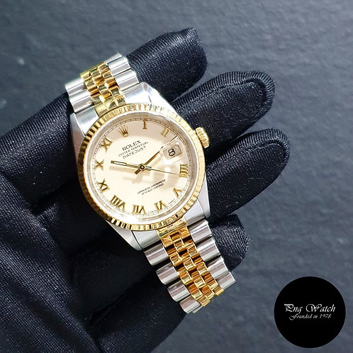 "Rolex Oyster Perpetual ""PANNA"" Cream Roman Datejust REF: 16233 (94)(2)"