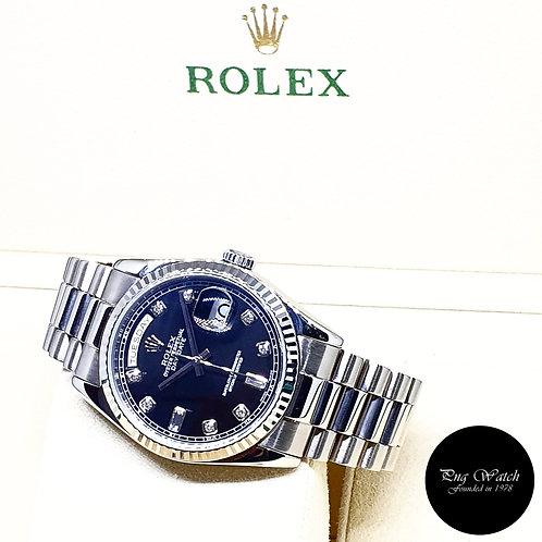 Rolex OP 18K White Gold Black Diamonds Day-Date REF: 118239 (Y Series)