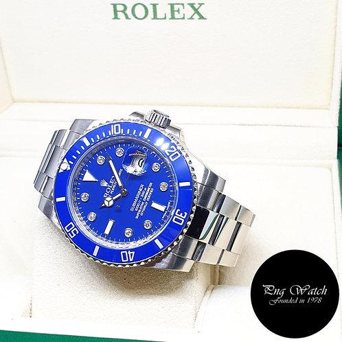 "Rolex OP 18K White Gold ""Smurf"" Serti Diamonds Submariner REF: 116619LB"