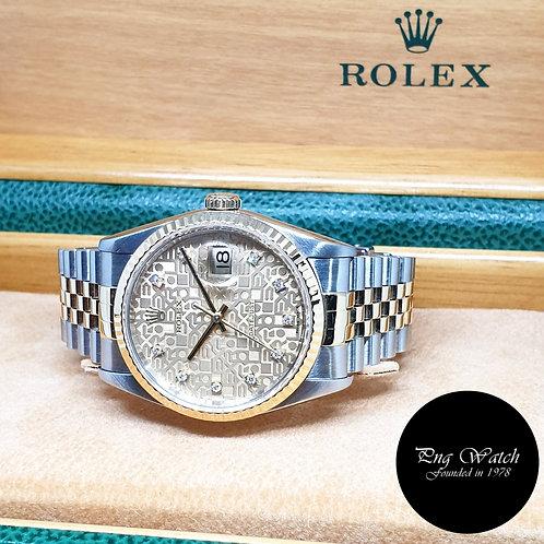 Rolex 18K Half Gold Champagne Computer Vignette Diamonds Datejust REF: 16233