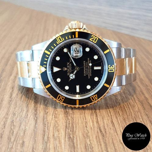 Rolex 18K Half Gold Black Submariner Date REF: 16613 (Z Series)(2)
