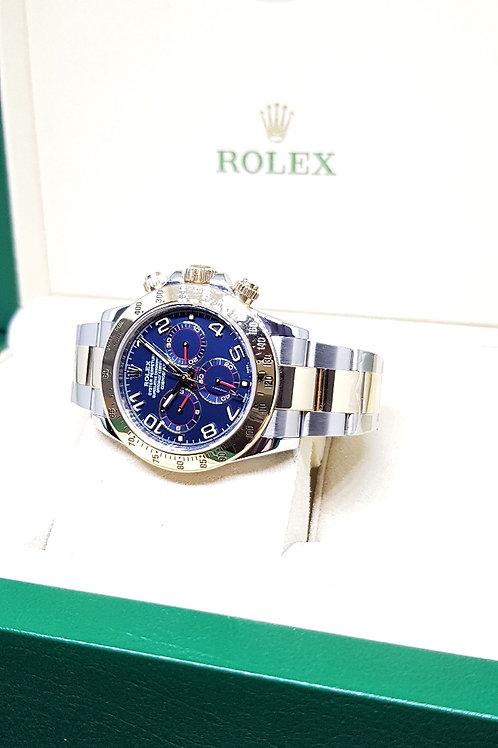 Rolex Oyster Perpetual 18K Half Gold Blue Arabic Daytona REF: 116523