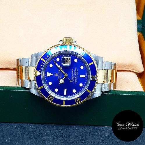 Rolex Oyster Perpetual 18K Half Gold Blue Submariner REF: 16613 (Y Series)