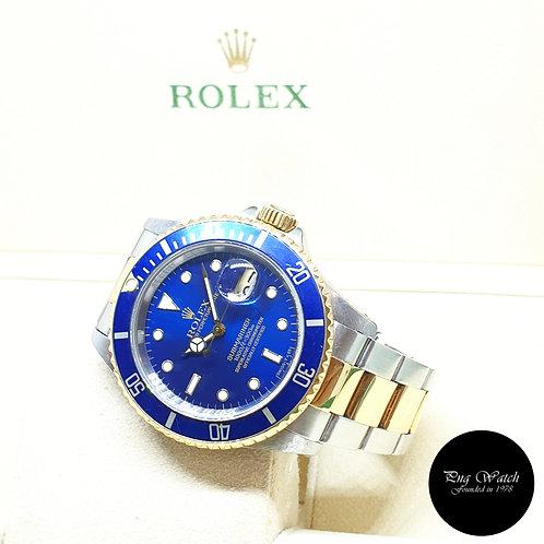 Rolex Oyster Perpetual Tritium 18K Half Gold Blue Submariner Date REF: 16613 (N)