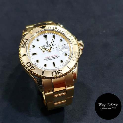 Rolex Oyster Perpetual 18K Yellow Gold White 40mm Yachtmaster REF: 16628 (A)(2)