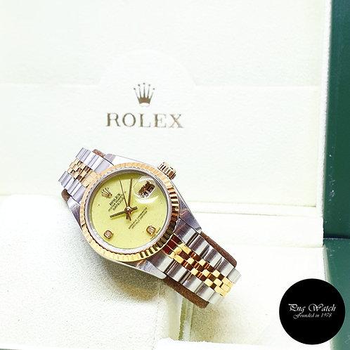 Rolex 18K Half Gold Green Coral 26mm Ladies Diamonds Datejust 69173