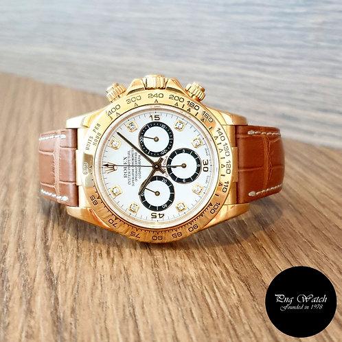 "Rolex Zenith ""Inverted 6"" 8PT Diamonds 18K Full Gold Daytona REF: 16518 (2)"
