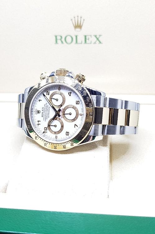 Rolex White Arabic Half Gold Daytona REF: 116523