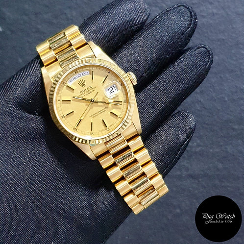 Rolex 18K Full Yellow Gold Champagne Textured Day-Date REF: 18238 (91)(2)
