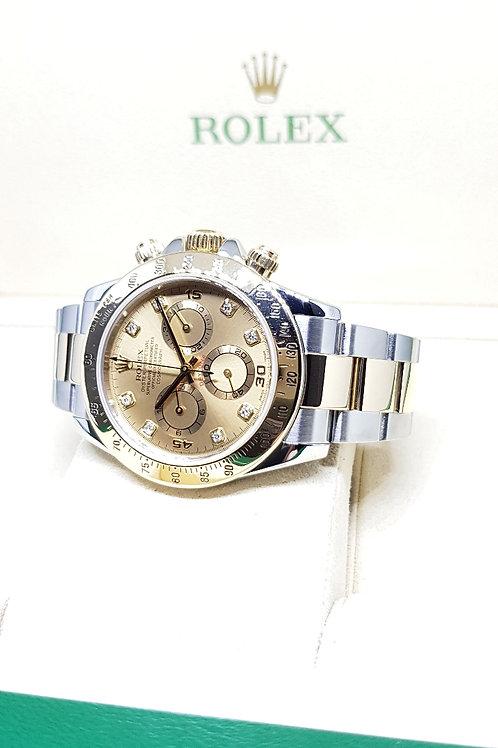 Rolex 18K Half Gold Champagne Diamond Dial Cosmograph Daytona REF: 116523