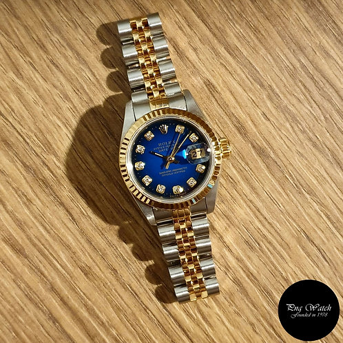 Rolex 18K Half gold 10PT Diamonds Blue Degrade Datejust REF: 69173 (2)
