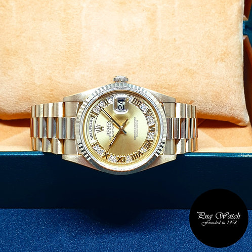 Rolex Oyster Perpetual 18K Yellow Gold Myriad Diamonds Day-Date REF: 18238
