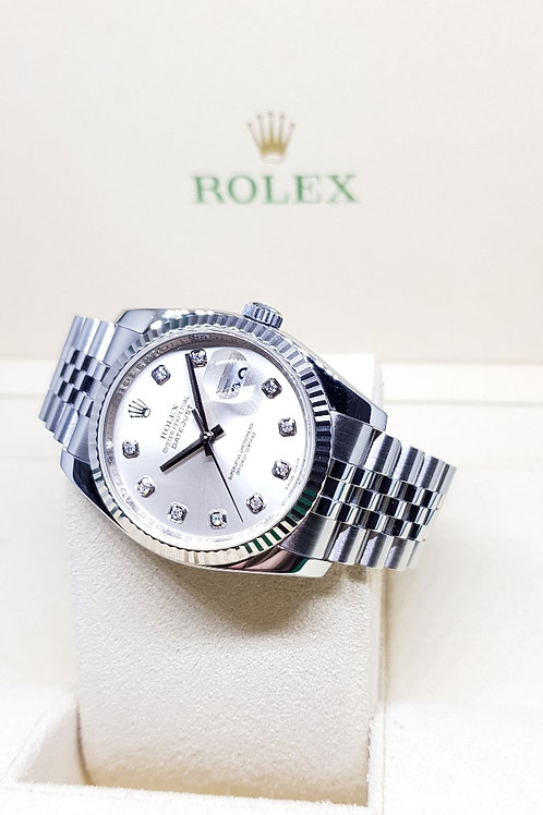 Rolex Oyster Perpetual Silver 10PT Diamonds Datejust REF: 116234