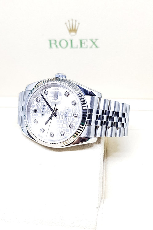 Rolex Oyster Perpetual Silver Computer 10PT Diamonds Datejust REF: 116234