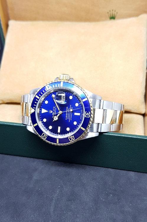 Rolex 18K Half Gold Blue Tritium Submariner REF: 16613