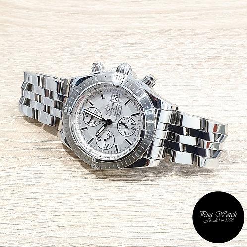 Breitling Silver Chronomat Evolution Chronograph Watch REF: A13356 (2)