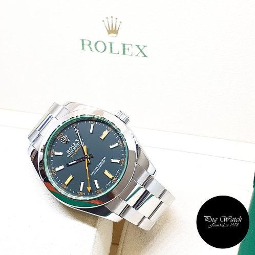 Rolex Oyster Perpetual 40mm Green Crystal Black Milgauss REF: 116400GV (08)