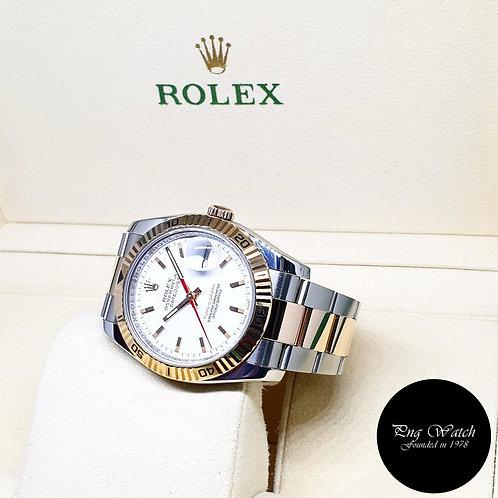 "Rolex OP 18K Half Rose Gold White ""Turn-O-Graph"" Datejust REF: 116261"