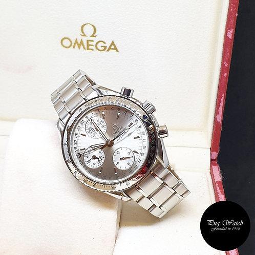 Omega Silver Speedmaster Triple Date Chronograph Watch REF: 3523.30