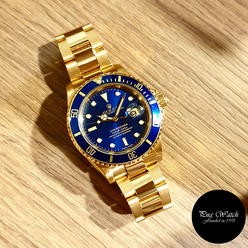Rolex Oyster Perpetual 18K Full Gold Blue Submariner REF: 16618 (Y Series)(2)