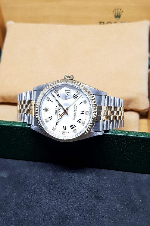 Rolex Oyster Perpetual White Roman Diamonds Datejust REF: 16233