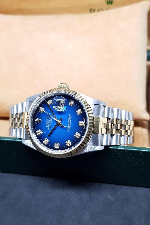 Rolex Oyster Perpetual 18K Half Gold 10PT Diamonds Blue Datejust REF: 16233