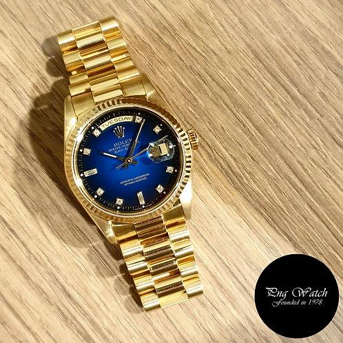 Rolex OP 18K Full Gold 2 Tone Blue Degrade Diamonds Day-Date REF: 18238 (2)