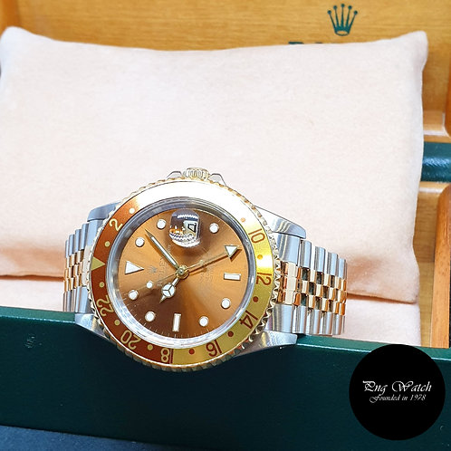"""Rolex Oyster Perpetual 18K Half Gold """"Rootbeer"""" GMT Master 2 REF: 16713"""