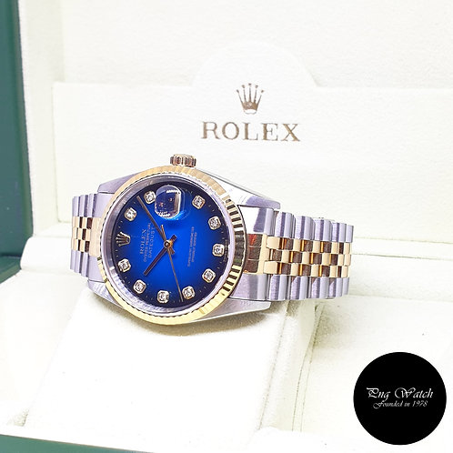 Rolex Oyster Perpetual 18K Half Gold Blue Degrade Diamonds Datejust REF: 16233