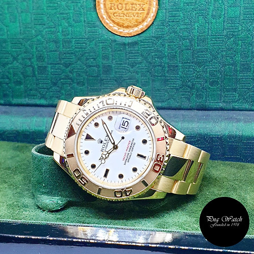 Rolex Oyster Perpetual 18K Yellow Gold White 40mm Yachtmaster REF: 16628 (A)
