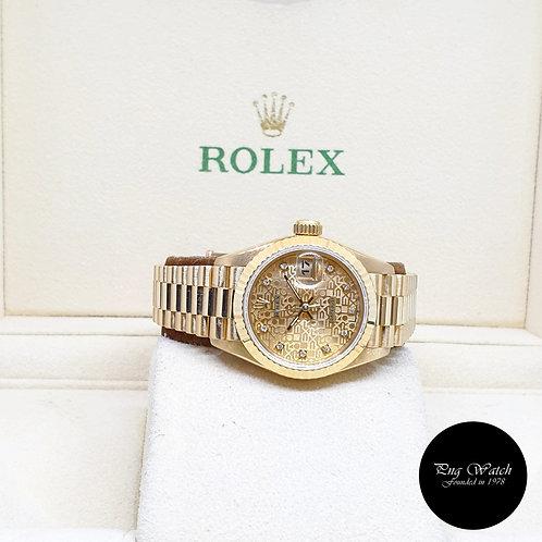 Rolex 18K Yellow Gold 26mm Ladies Champagne Computer Vignette Diamonds 69178