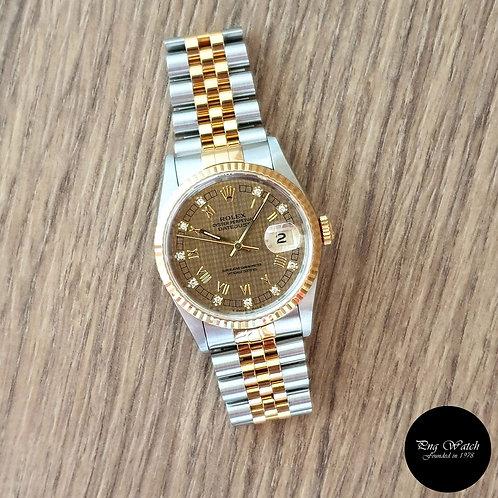 Rolex 18K Half Gold 10PT Diamonds Houndstooth Datejust REF: 16233 (2)