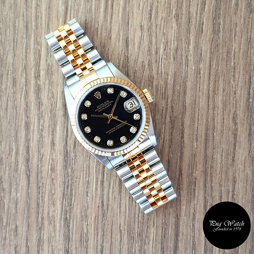 Rolex 18K Half Gold Black Diamonds Datejust REF: 68273 (2)