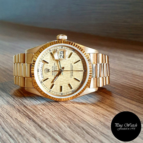 Rolex 18K Yellow Gold Textured Dial Day-Date REF: 18038 (2)