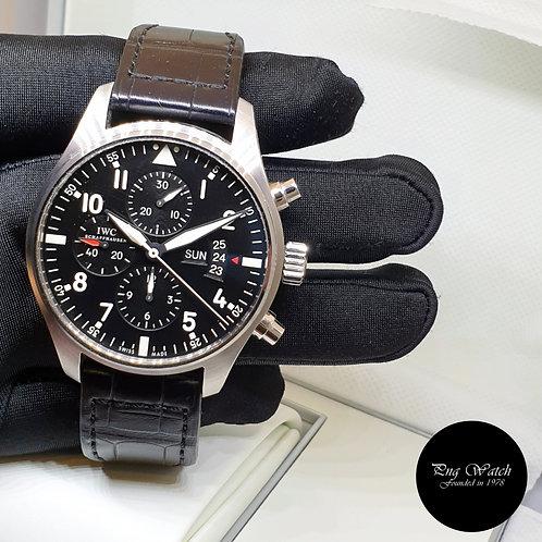 IWC 43mm Black Fliegeruhr Chronograph Watch REF: 3777-01 (2)