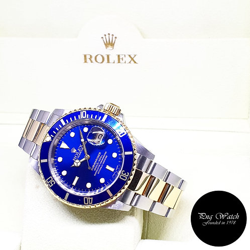 Rolex Oyster Perpetual 18K Half Gold Blue Submariner Date REF: 16613 (P Series)