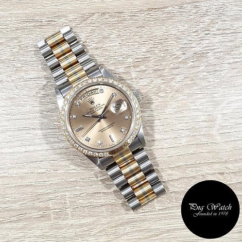 "Rolex OP 18K Gold ""TRIDOR"" Champagne Brown Diamonds Day-Date REF: 18129BIC (2"