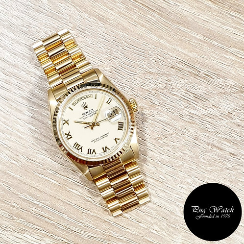 Rolex Oyster Perpetual 18K Yellow Gold Cream Roman Day-Date REF: 18038 (2)