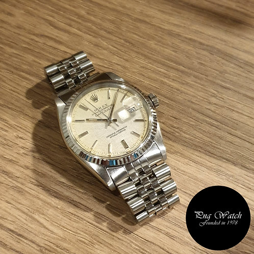 Rolex Oyster Perpetual Silver Linen Datejust REF: 16014 (2)