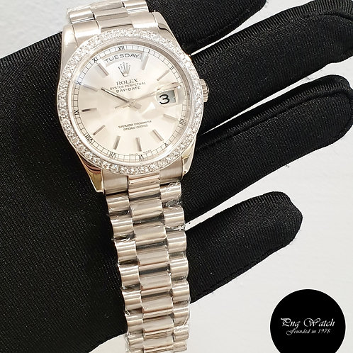 Rolex 18K White Gold Silver Indexes Day-Date with Diamonds REF: 118239 (2)
