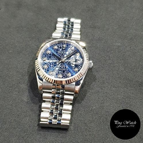Rolex Oyster Perpetual 10PT Big Diamonds Blue 36mm Datejust REF: 116234 (07)(2)