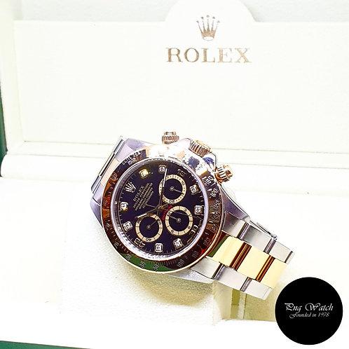 Rolex 18K Half Yellow Gold Zenith Movement Black Diamonds Daytona REF: 16523 (U)
