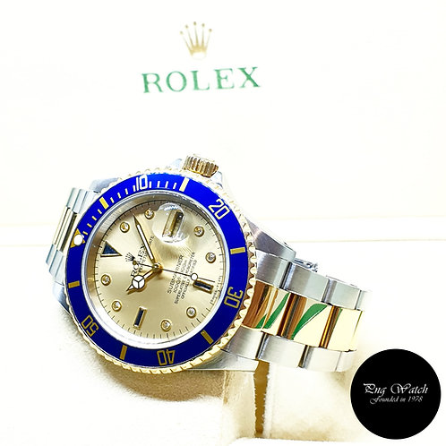 Rolex OP 18K Half Gold Champagne Serti Diamonds Submariner Date REF: 16613